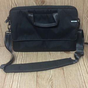 Incase brown laptop bag with plush faux fur